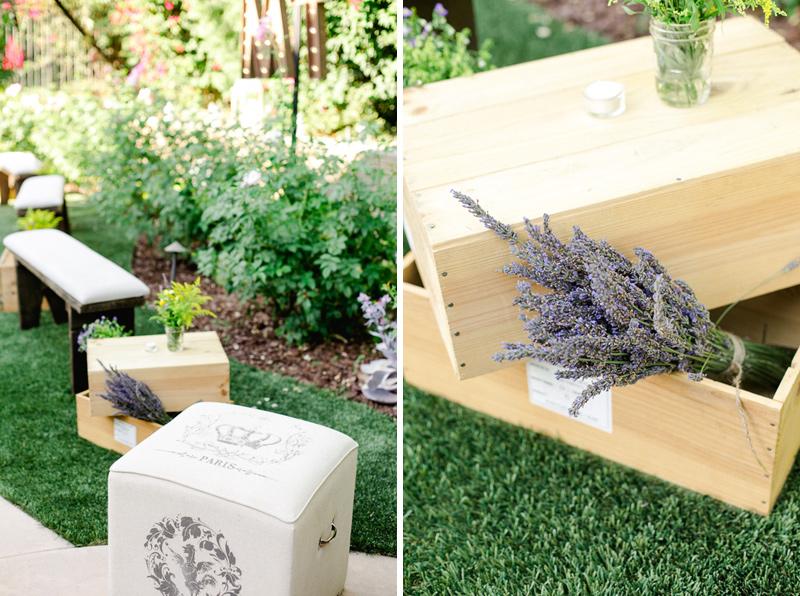 Pasadena backyard wedding with rustic vineyard and lavender theme