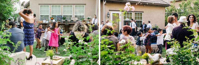 Kids conga line at wedding reception