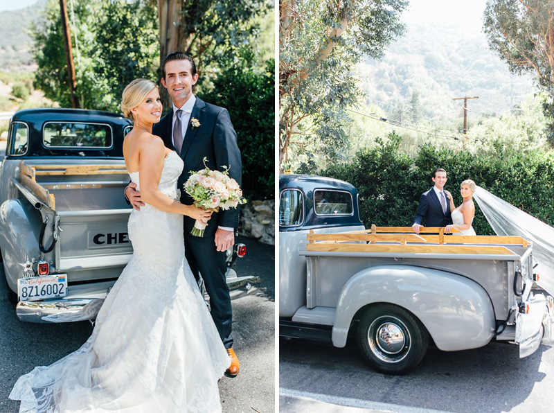 Bride and groom vintage chevy pickup truck for getaway