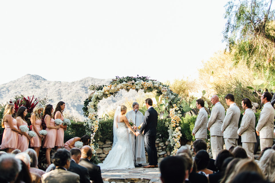 Rustic romantic pastel Calabasas wedding ceremony at Saddle Peak Lodge