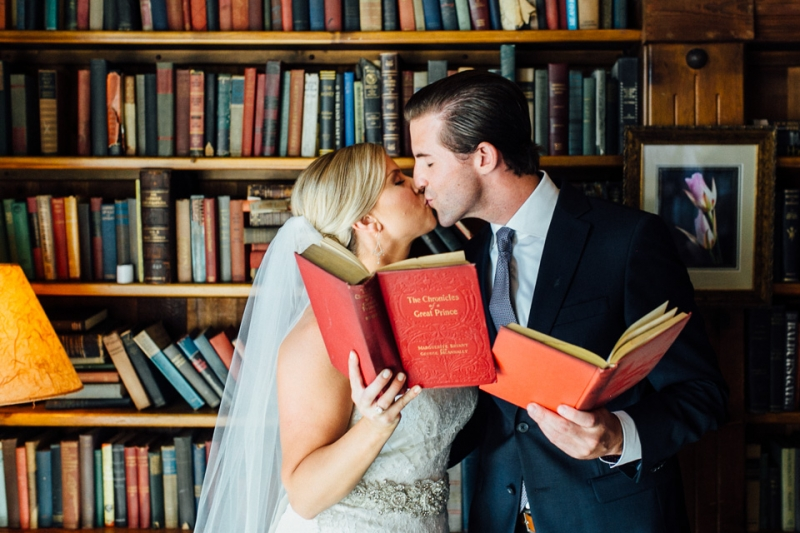 Saddle Peak Lodge wedding - bride groom library