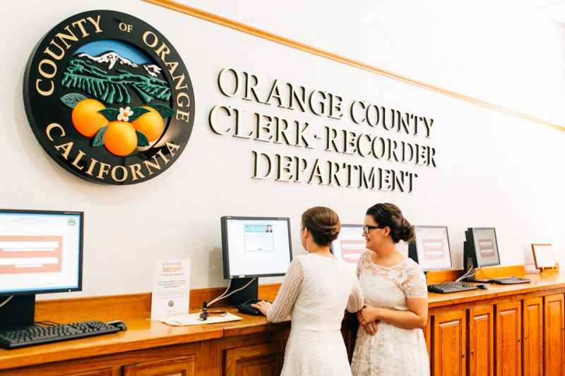 Intimate lesbian elopement at Old Orange County Courthouse