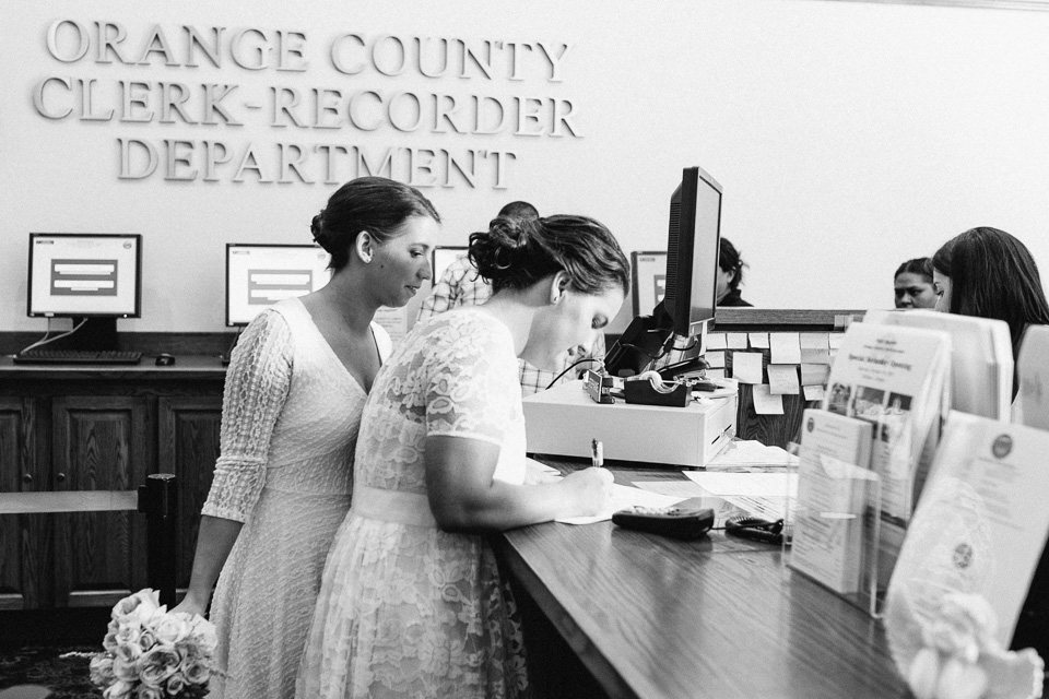 sweet, beautiful LGBTQ courthouse elopement in OC