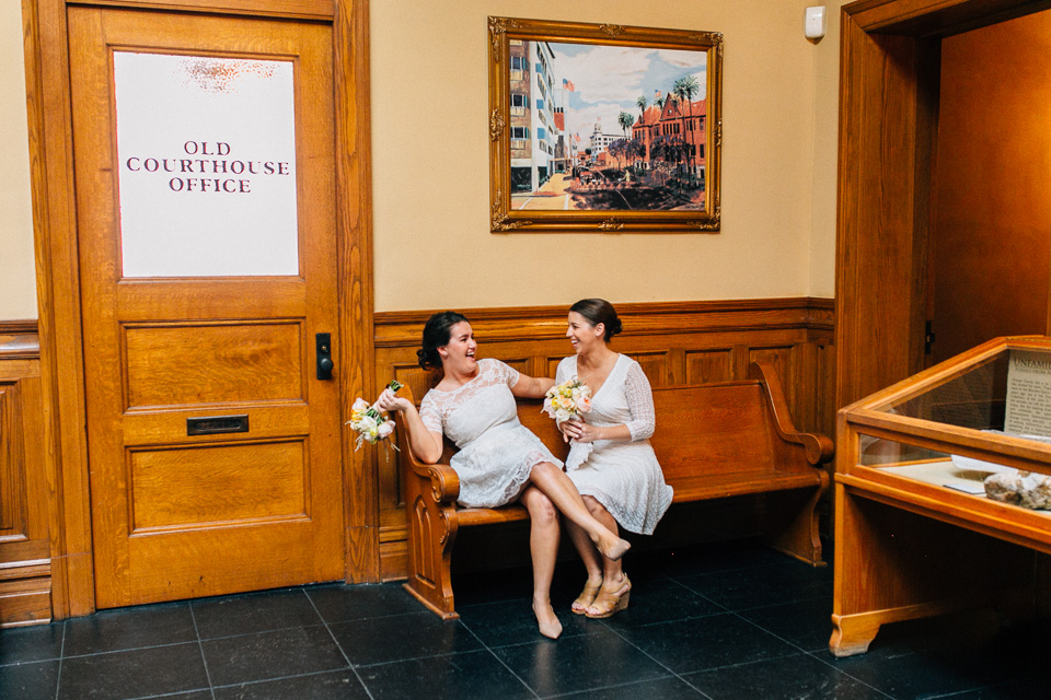 Vintage Old Orange County Courthouse lesbian elopement