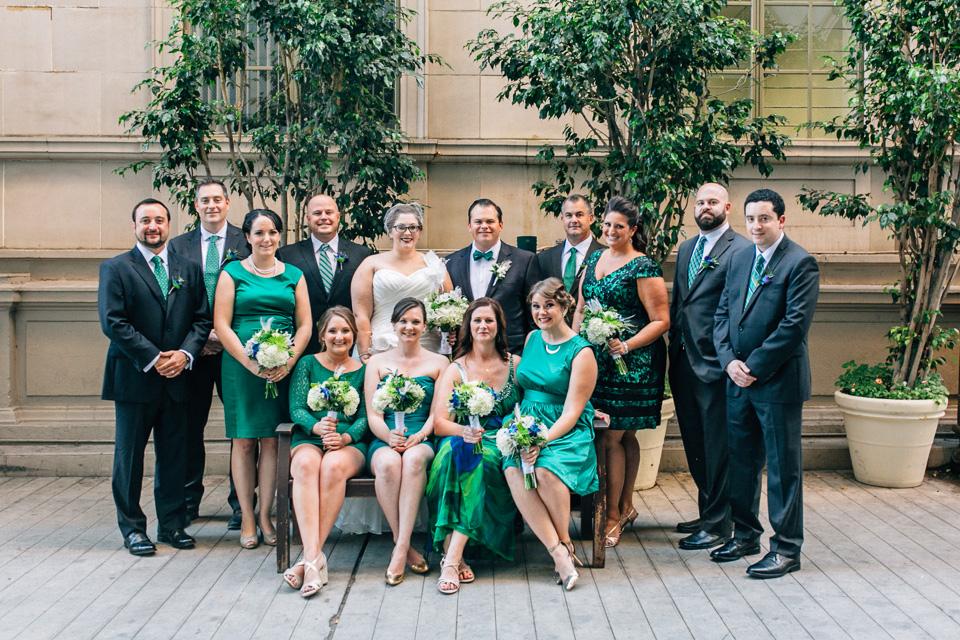 Los Angeles wedding photography. Large bridal party group shot Biltmore hotel