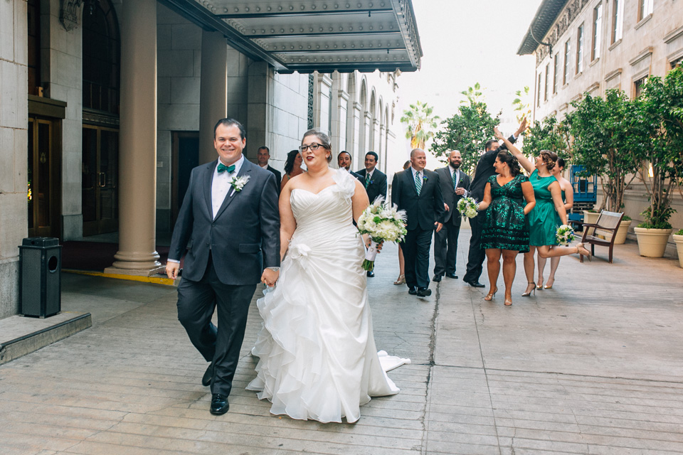 Los Angeles modern creative natural wedding photography. Biltmore Hotel downtown.