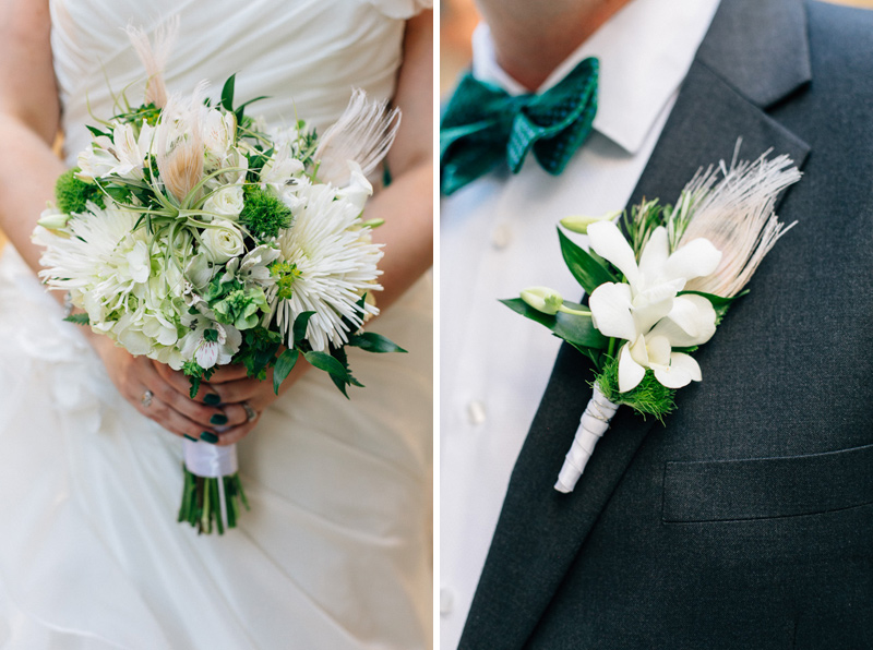 Green and white wedding bouquet with feathers and air plants