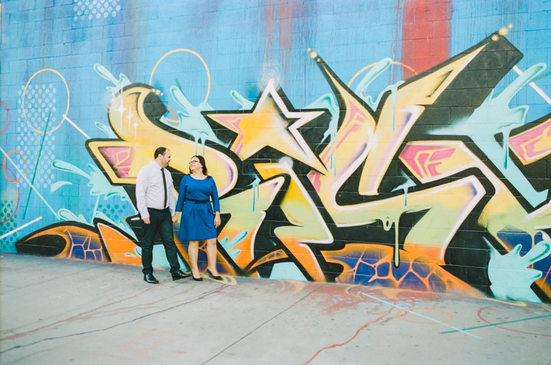 Los Angeles colorful downtown engagement session