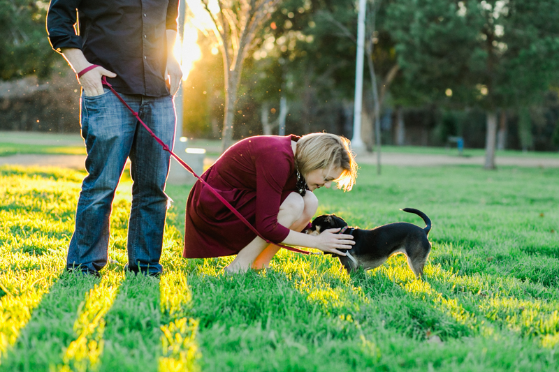 Los Angeles park engagement with puppy