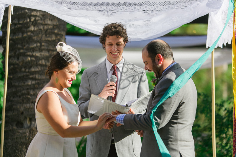 Los Angeles festive fun outdoor Jewish wedding ceremony