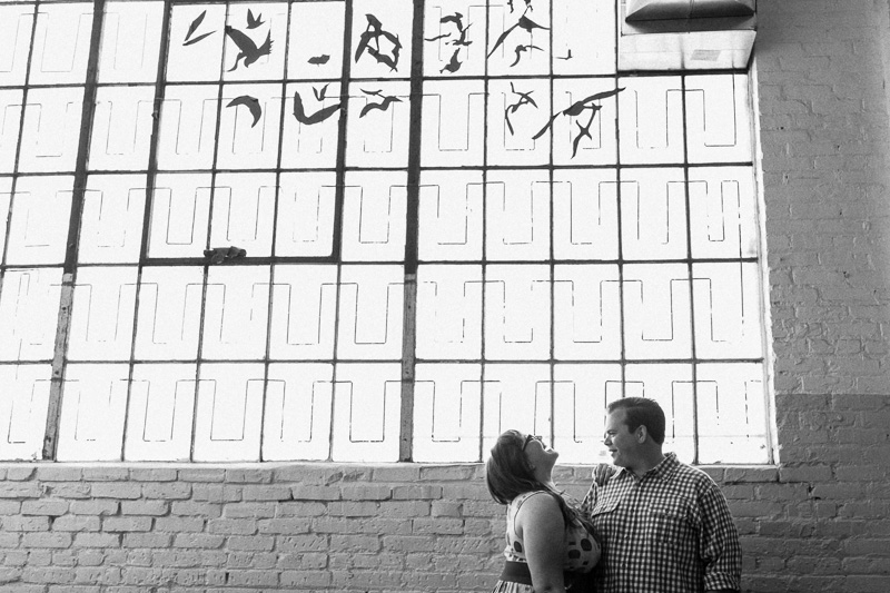 DTLA engagement photos at industrial loft brewery