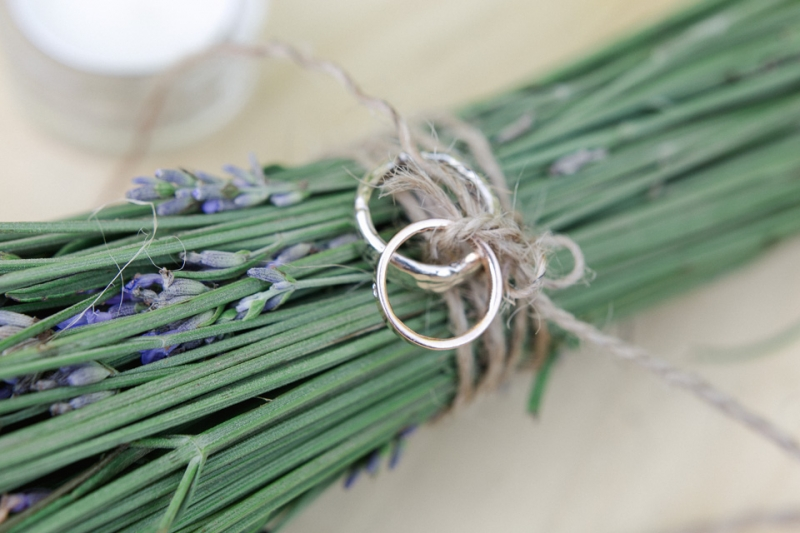 Lavender wedding decor with rings