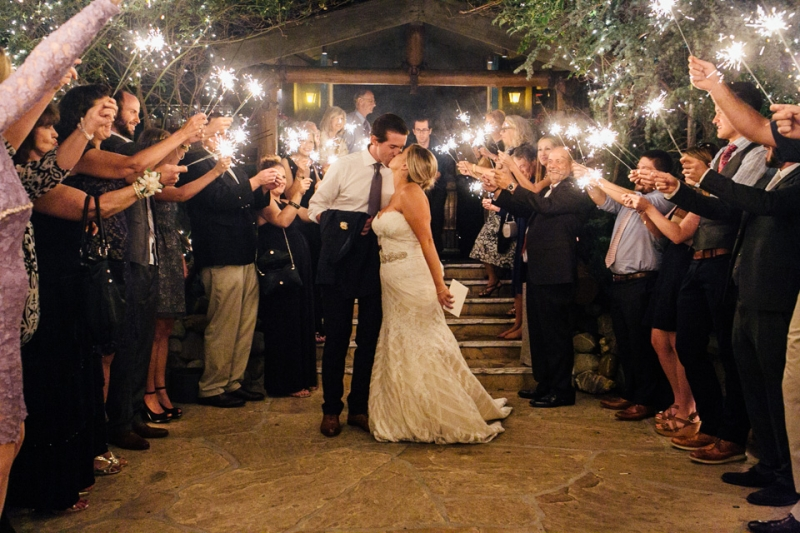 Malibu wedding photographer with sparkler exit