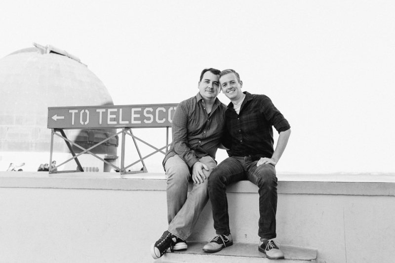 LA Griffith Observatory engagement. Gay and lesbian wedding photography.