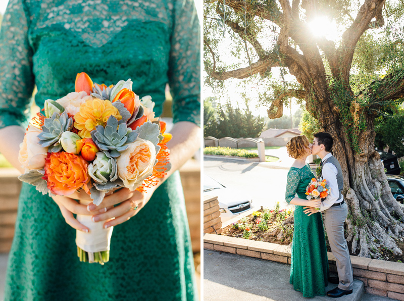 Orange County Lesbian wedding. Succulent bouquet.