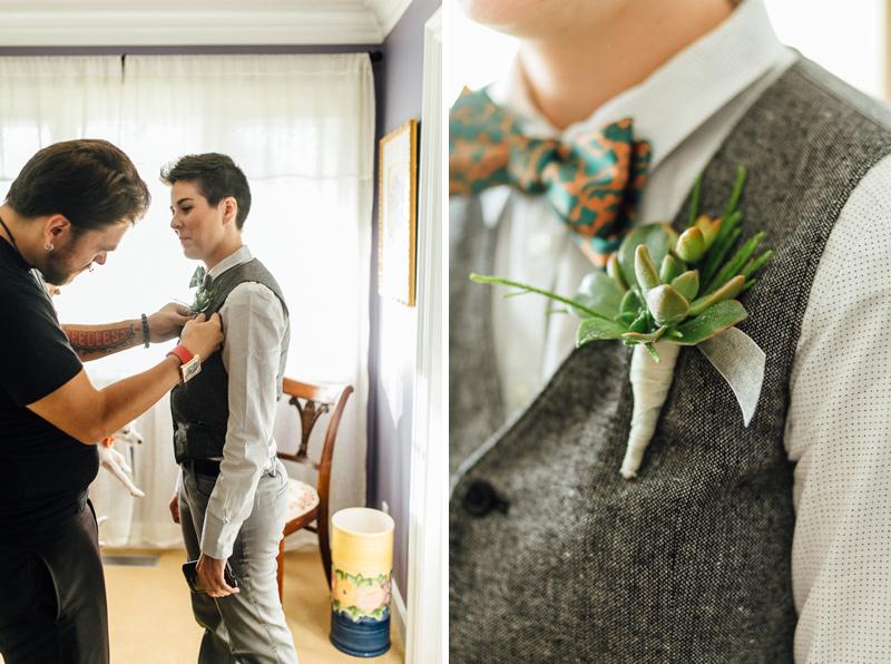 succulent boutonnière at same sex lesbian wedding