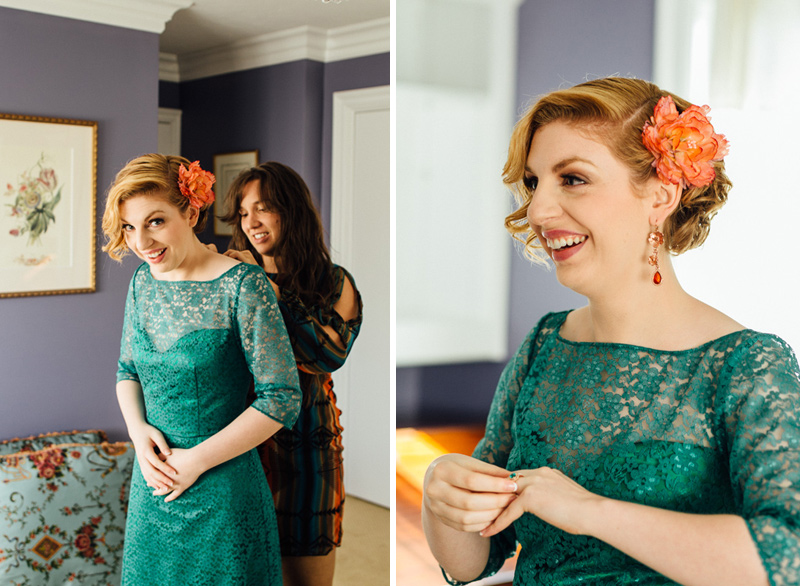 bride wearing gorgeous colorful emerald green lace dress for intimate OC wedding