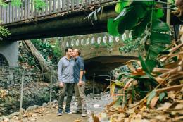 Los Angeles bridge trails engagement photos at Griffith Park