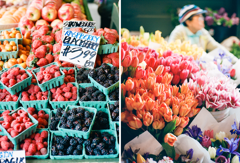 Farmers market berries and flowers travel photographer