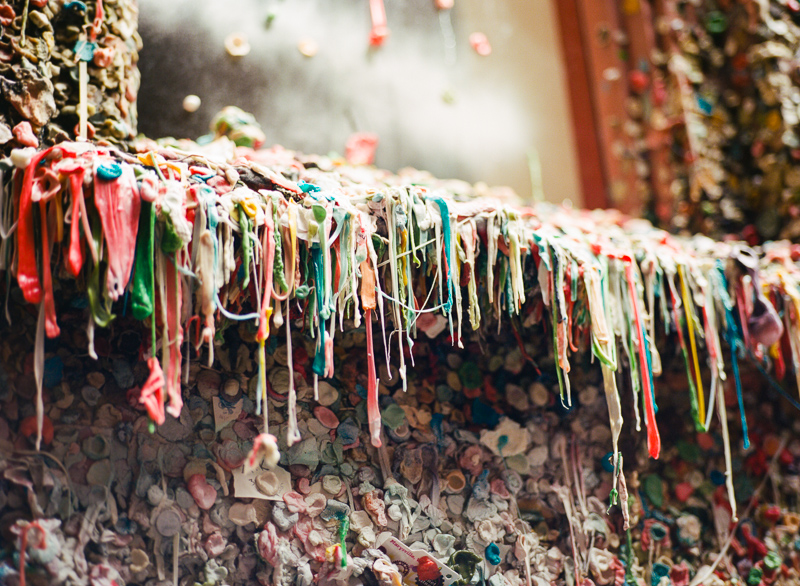 Seattle Gum Wall on film. Lifestyle travel photographer Jessica Schilling.