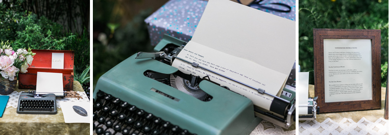 Bride and groom writers with typewriters for guestbook