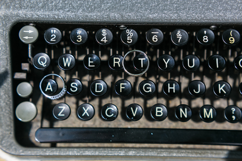 Los Angeles wedding rings on vintage typewriters detail shots