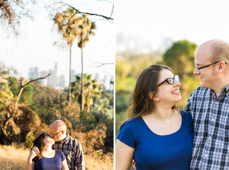 Natural rustic Elysian Park engagement with views of DTLA
