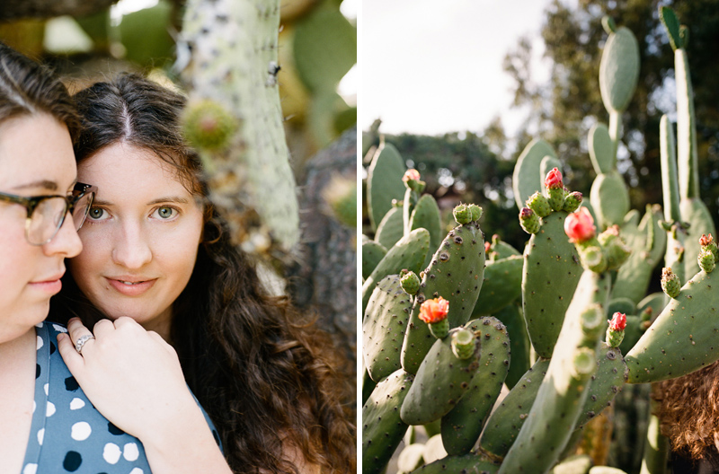 Romantic desert cactus engagement photography session on film