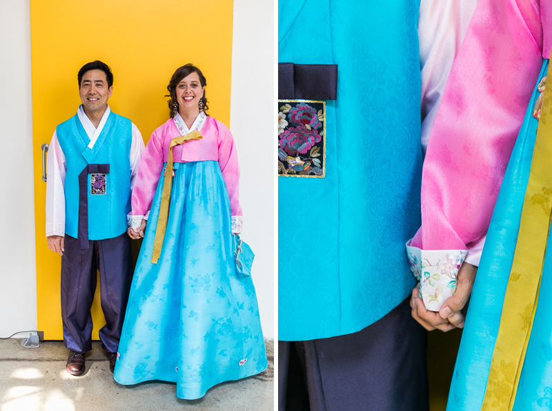 Bride and Groom dressed in colorful hanbok for Korean Paebaek wedding ceremony