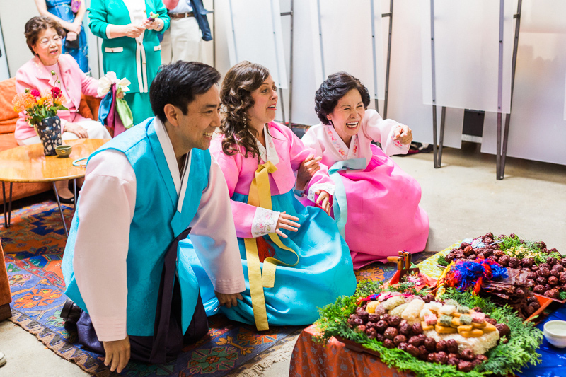 Elysian LA intercultural offbeat wedding Korean paebaek