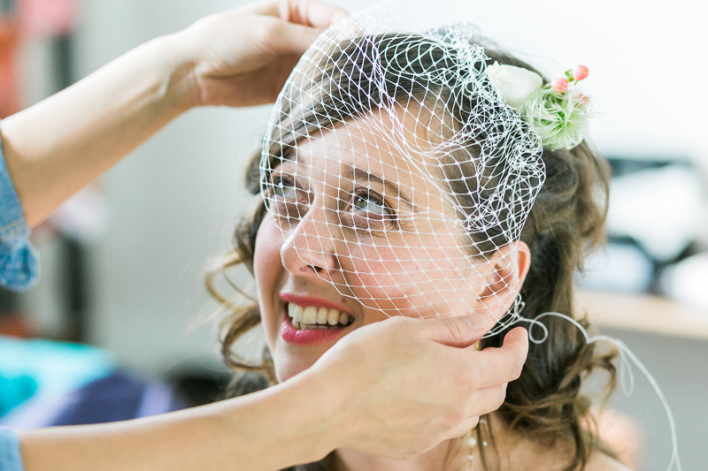LA wedding photography. Birdcage veil at DIY offbeat wedding