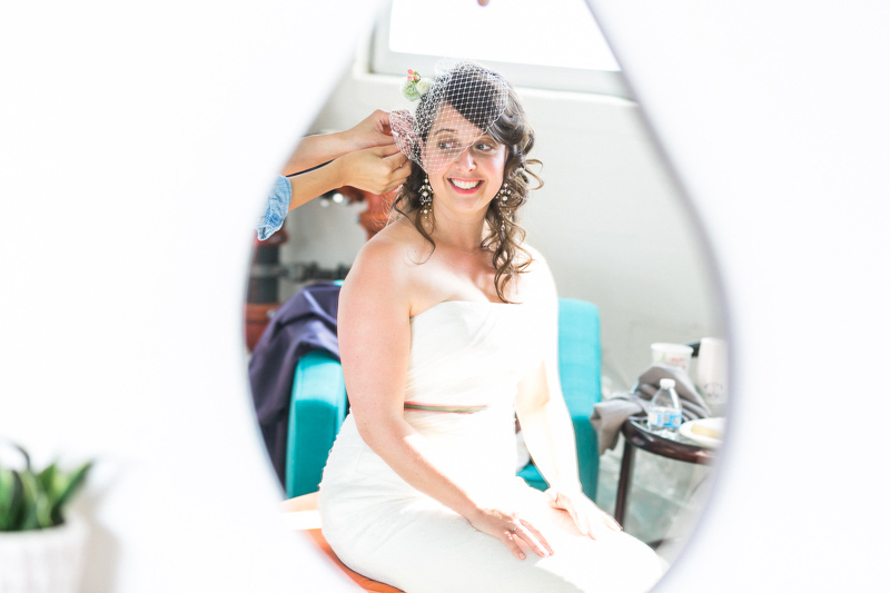 Elysian wedding photography, bride getting ready with birdcage veil