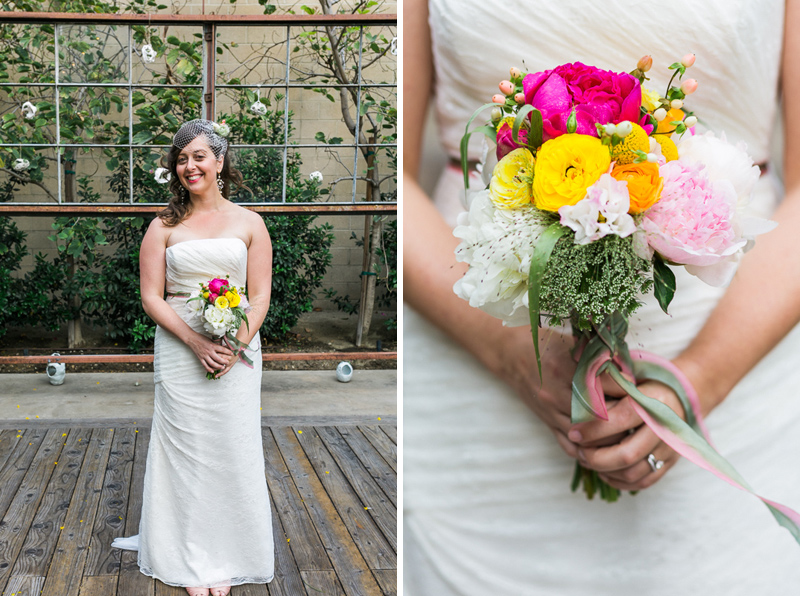 Elysian LA wedding with colorful DIY floral bouquet