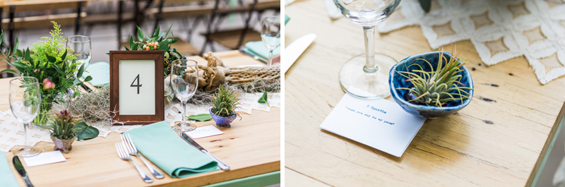 Air plants and love poem quotes at rustic, natural, earthy DIY wedding reception