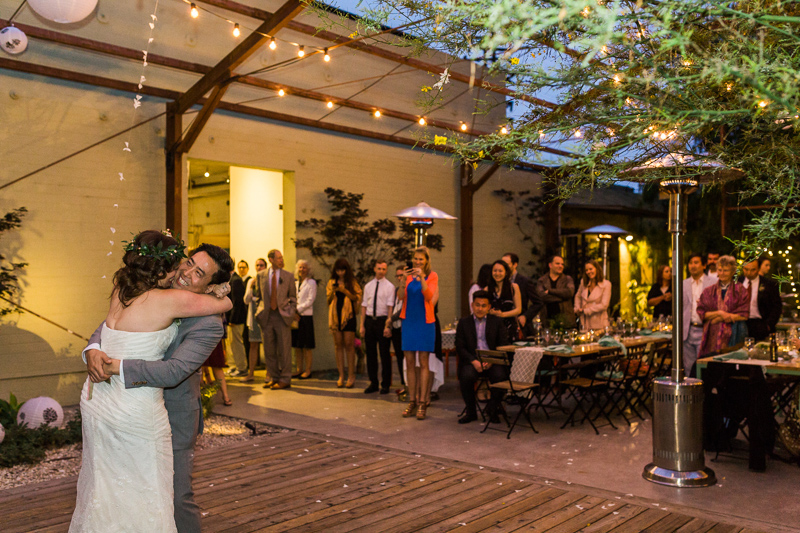 Los Angeles wedding photography. Outdoor reception dancing Elysian LA.