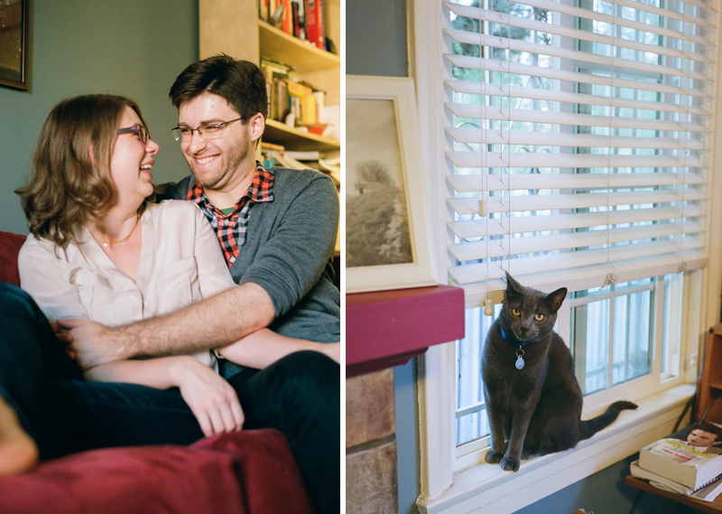 Los Angeles documentary film photographer Jessica Schilling - couple at home with cats