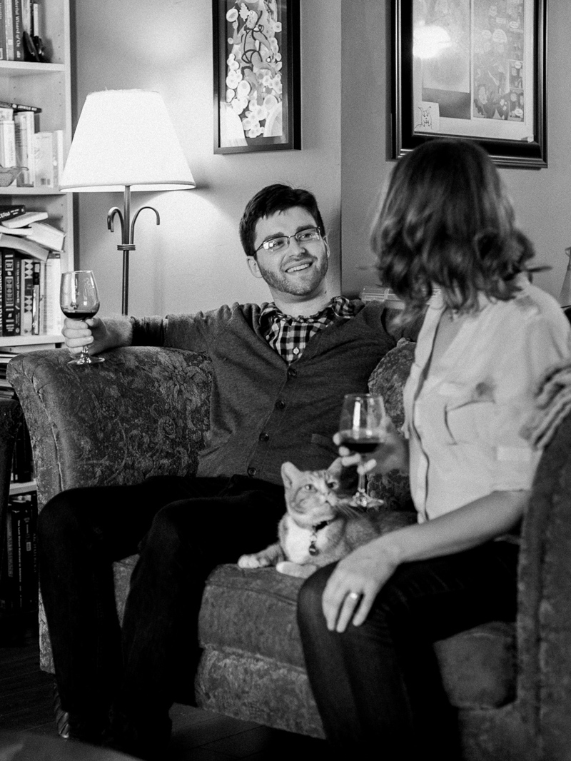 Couple relaxing at home for candid documentary anniversary portrait photos