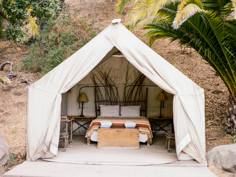Tent for camp elopement at El Capitan Canyon in Southern California