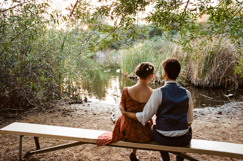 Franklin Canyon Park intimate elopement in outdoors