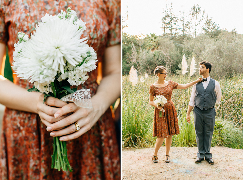 Cool hipster vintage wedding dress for destination California elopement
