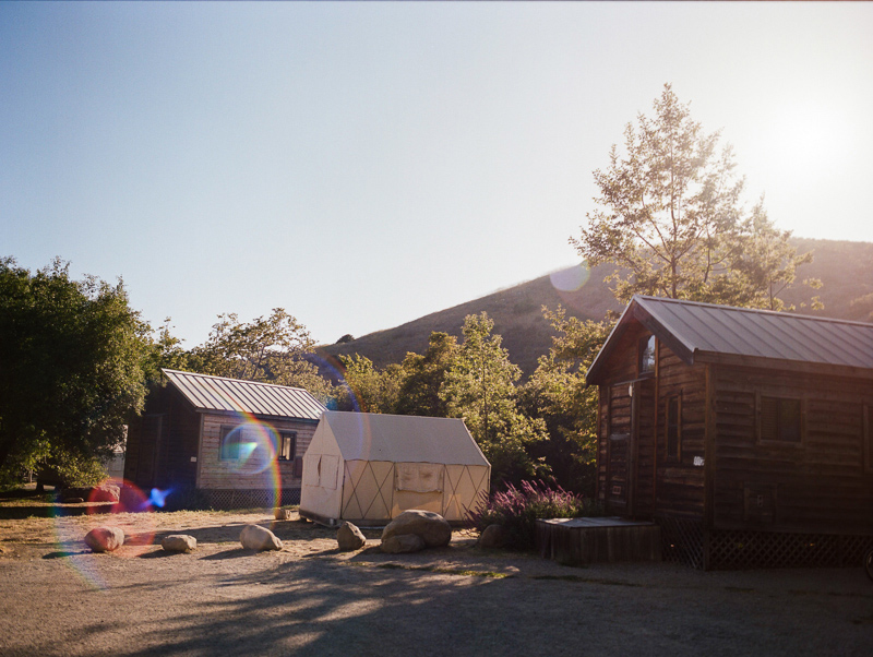 Camping elopement venue cabins and tents at El Capitan Canyon