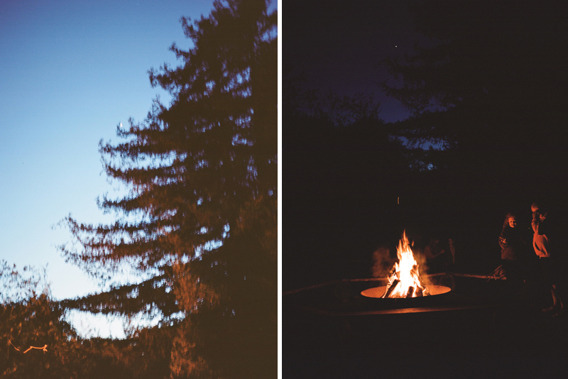 Campfire at El Capitan Canyon forest glamping