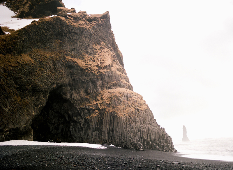 Reynisfjara black sand beach. Destination elopement and travel photography on film