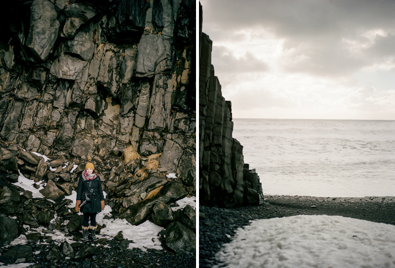 Destination elopement photographer Jessica Schilling. Portraits at Reynisfjara in South Iceland on film.