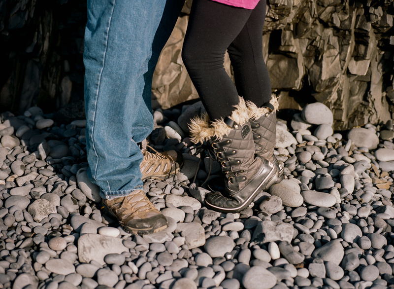 Destination elopement photographer Jessica Schilling. Romantic portraits at Reynisfjara in South Iceland on film.