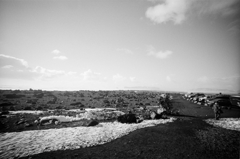 Reynisfjara black sand beach on black and white film with Lomo LC Wide toy camera