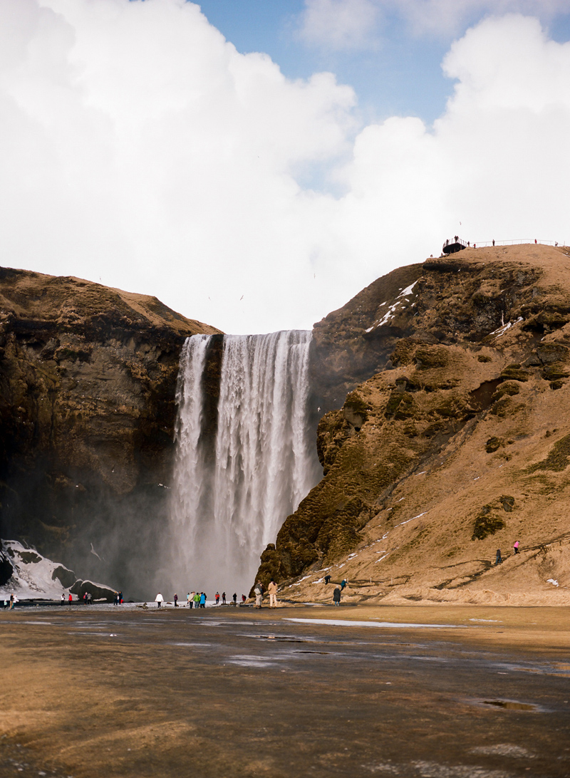 Iceland destination travel photography on film. Skogafoss waterfall.