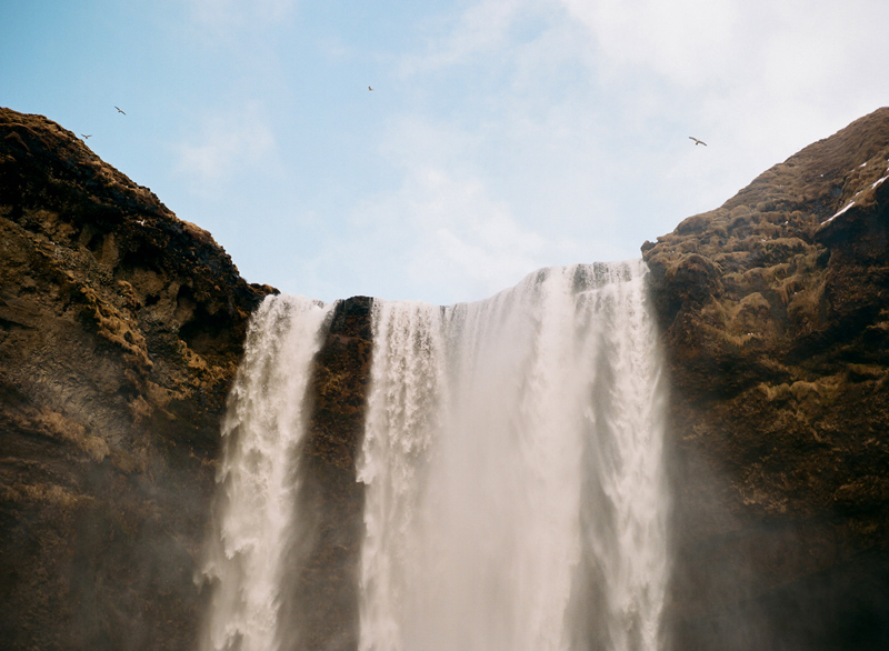 Birds flying over Skogafoss waterfall. Iceland destination travel photography on film.