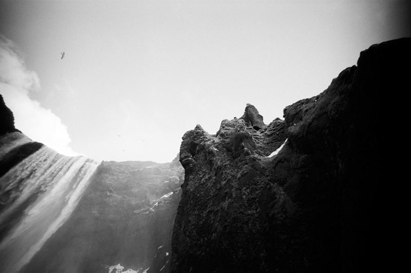 Skogafoss waterfall. Iceland destination travel photography on film. Lomo LC Wide toy camera.