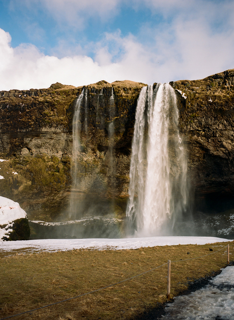 Seljalandsfoss waterfall. Iceland destination travel photography on film. Mamiya 645 Pro TL. Portra 400.